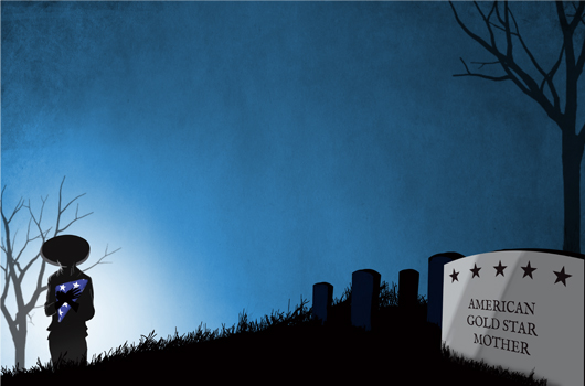 Illustration of Gold Star Mother standing near grave markers for OCF story