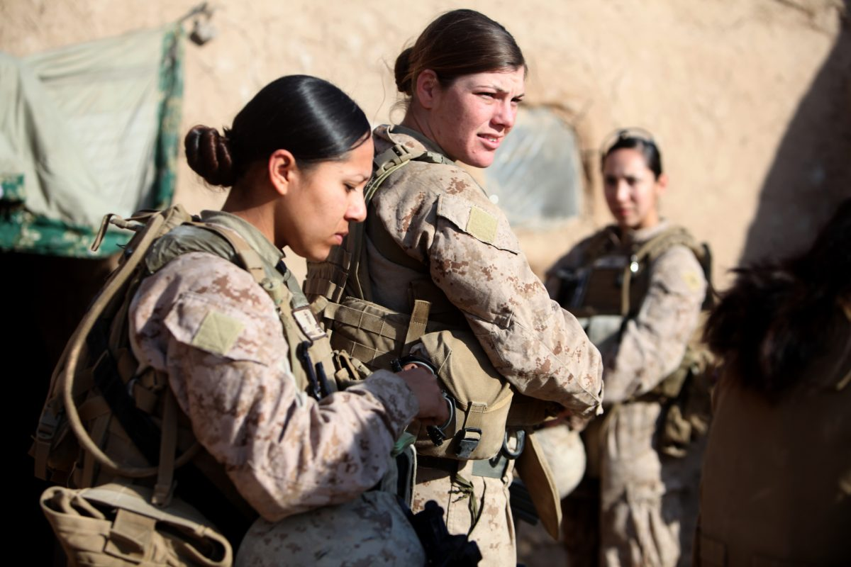 Female marines on patrol. U.S. Marine Corps photo by Cpl. Marionne T. Mangrum