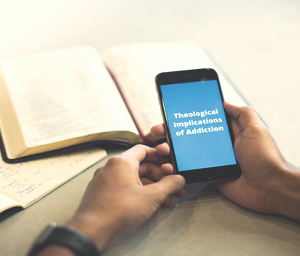 Man holding smartphone that displays the title text of this Crosspoint podcast episode: Theological Implications of Addiction.
