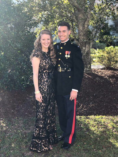 Photo of first Lieutenant Aaron Zimmerman, USMC, and his wife